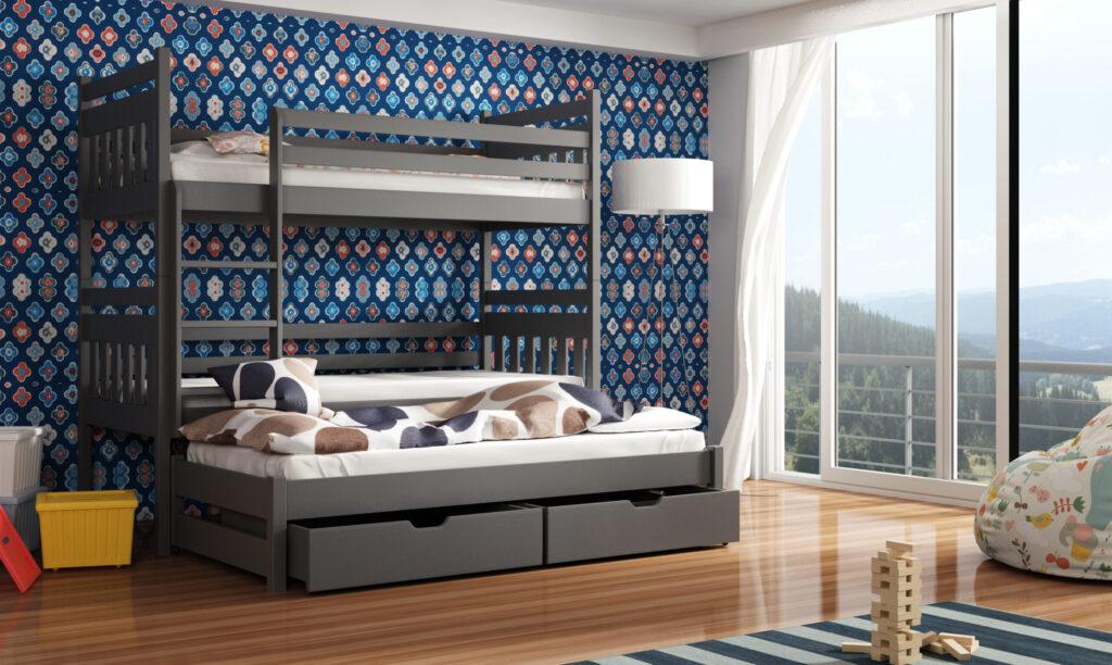 Triple Sleeper Bunk Bed Mattresses And Storage Tom Grey Fursale