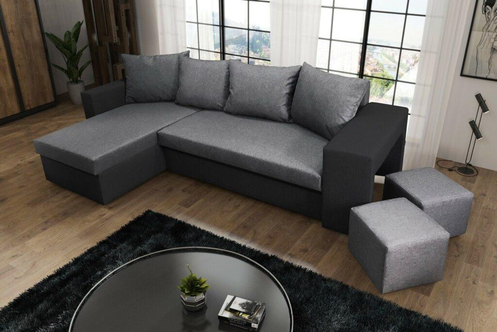 Napoli Corner Sofa Bed- Black And Grey