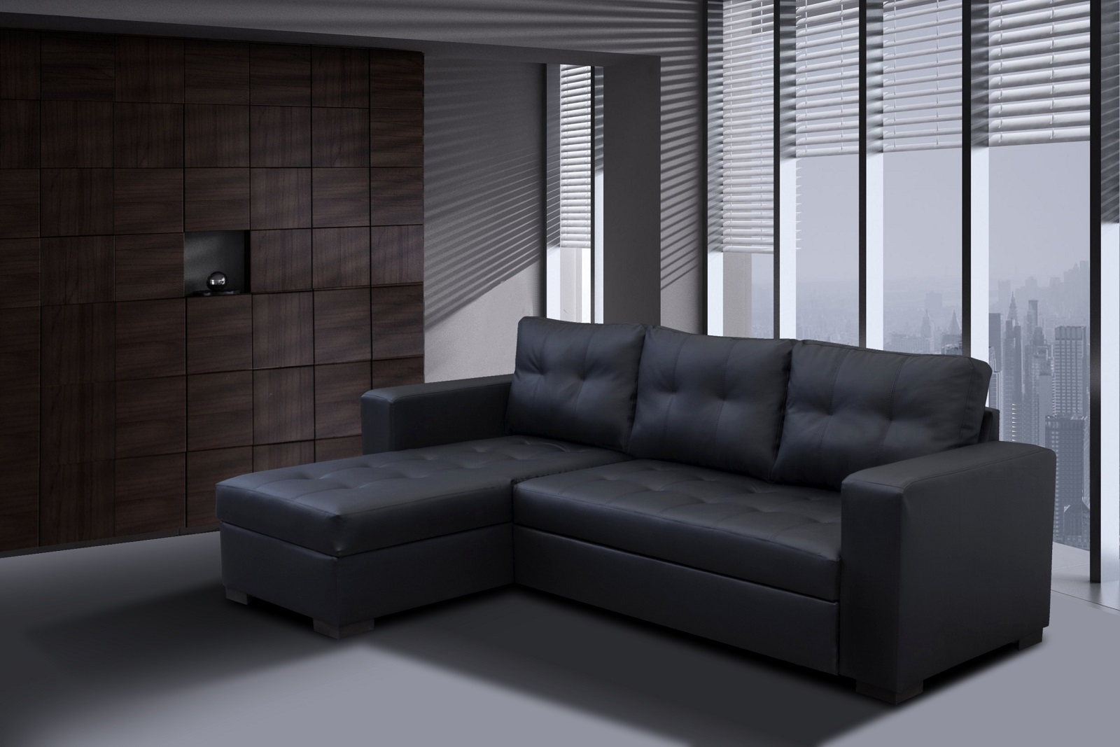 gianni2 left sofa bed black PU (1)